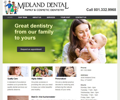 Midland Dental - Responsive Designed Custom Website