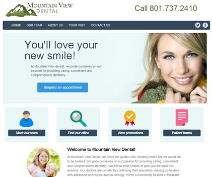Mountain View Dental - Responsive Designed Custom Website
