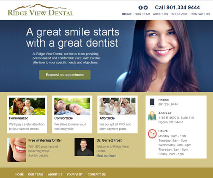 Ridge View Dental - Responsive Designed Custom Website